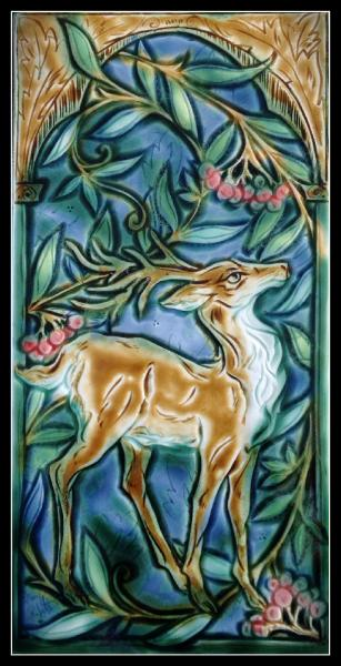 "This will be the image on the cover of ""As the Deer Yearns"" Queen Margaret of Scotland. It is a tile created by the magical artist, Mary Philpott."